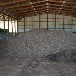 Poultry liter piled in a liter shed