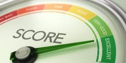 Business Credit Score Gauge Concept, Excellent Grade.