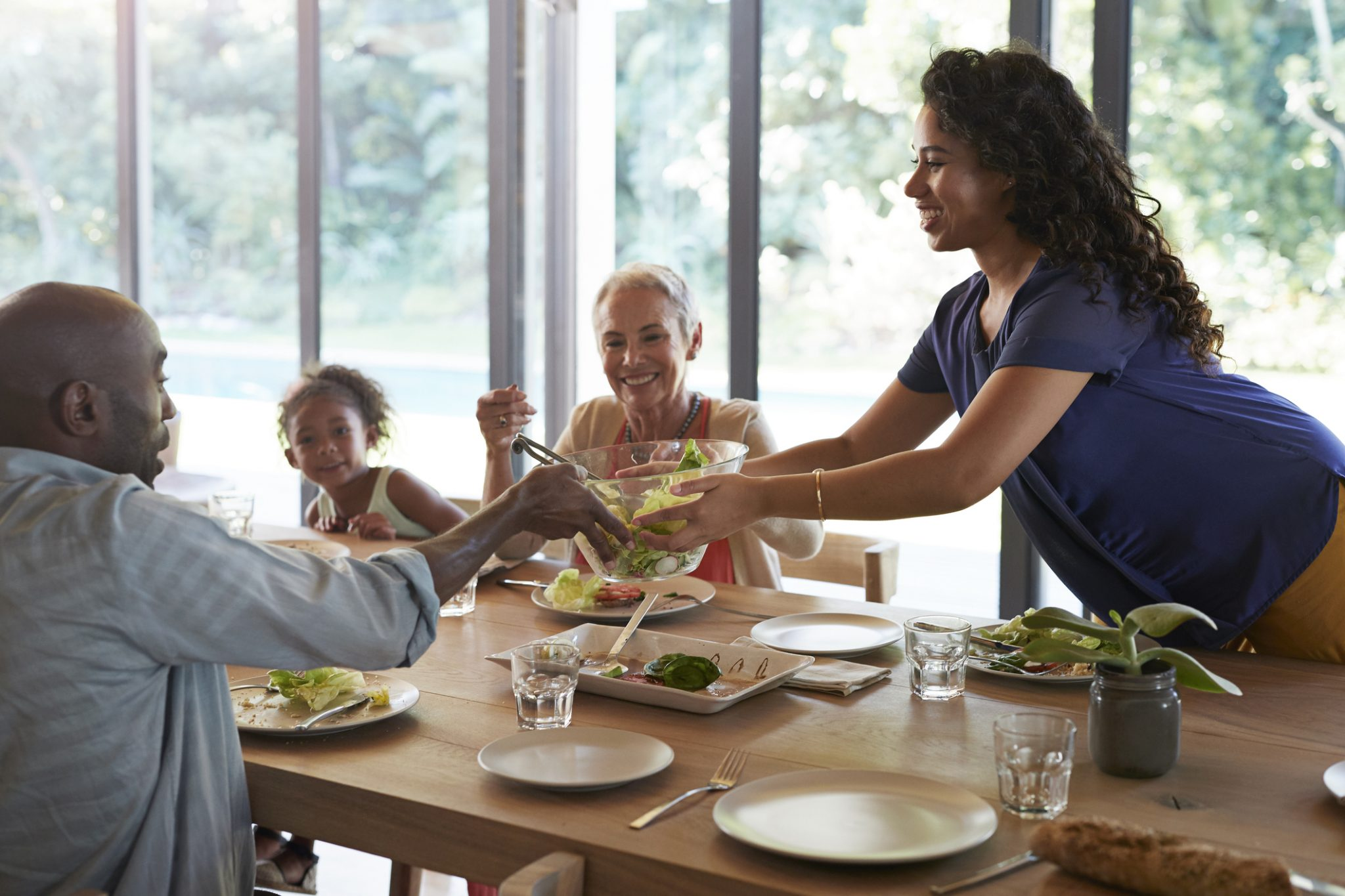 Multi generational family, having weekend lunch