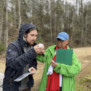 Volunteers taking water samples