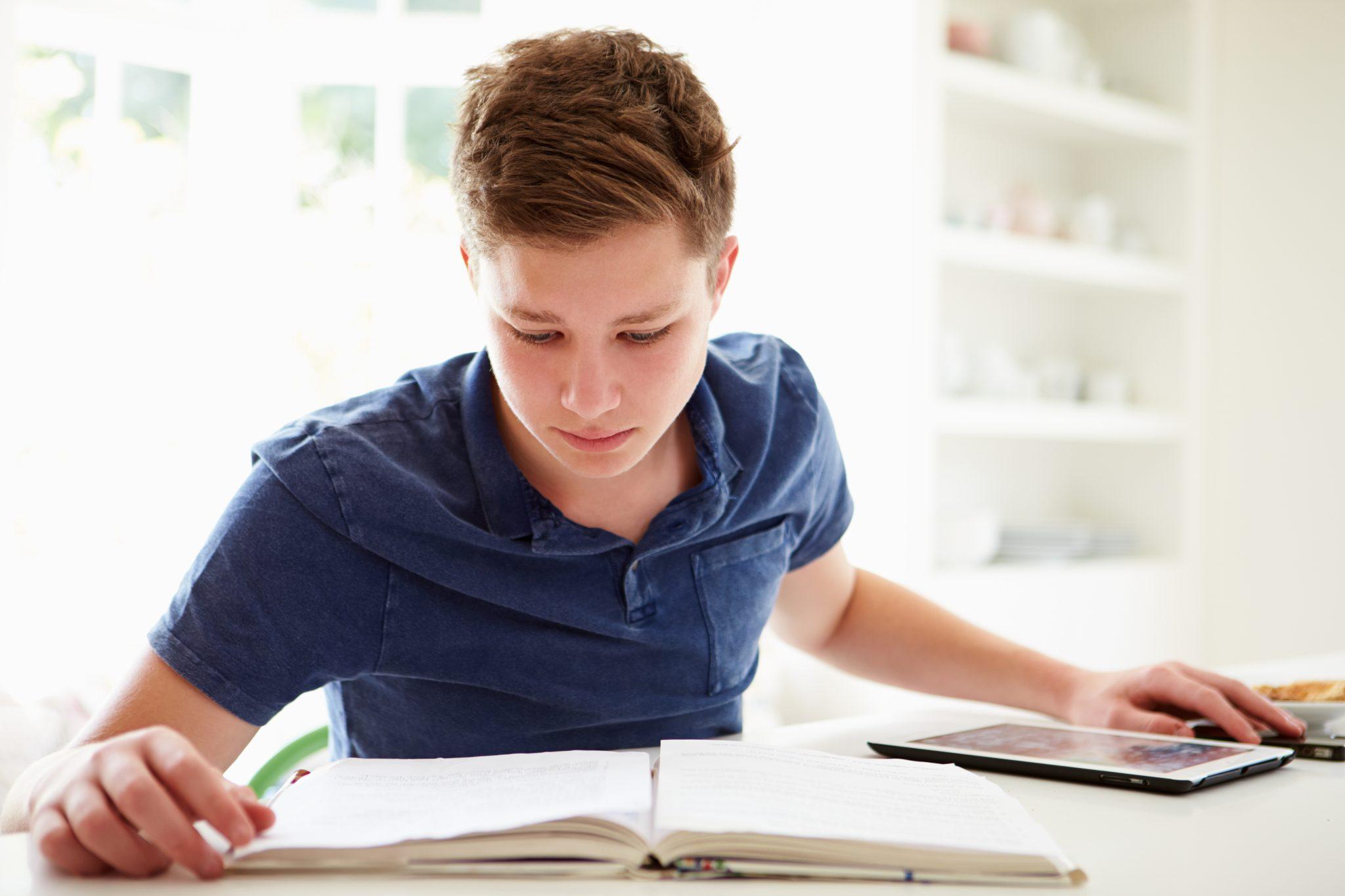 Teenage boy studying