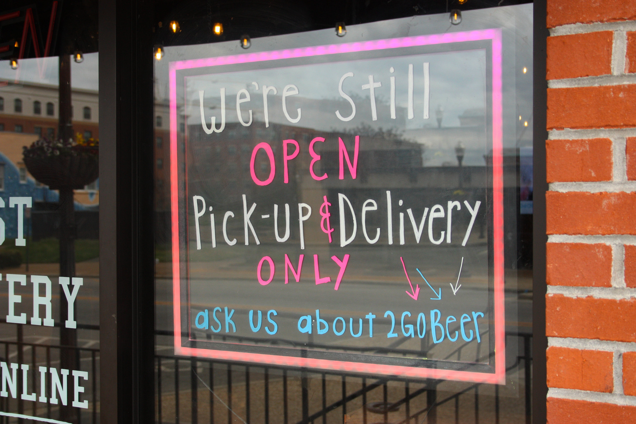Pick up and delivery restaurant sign