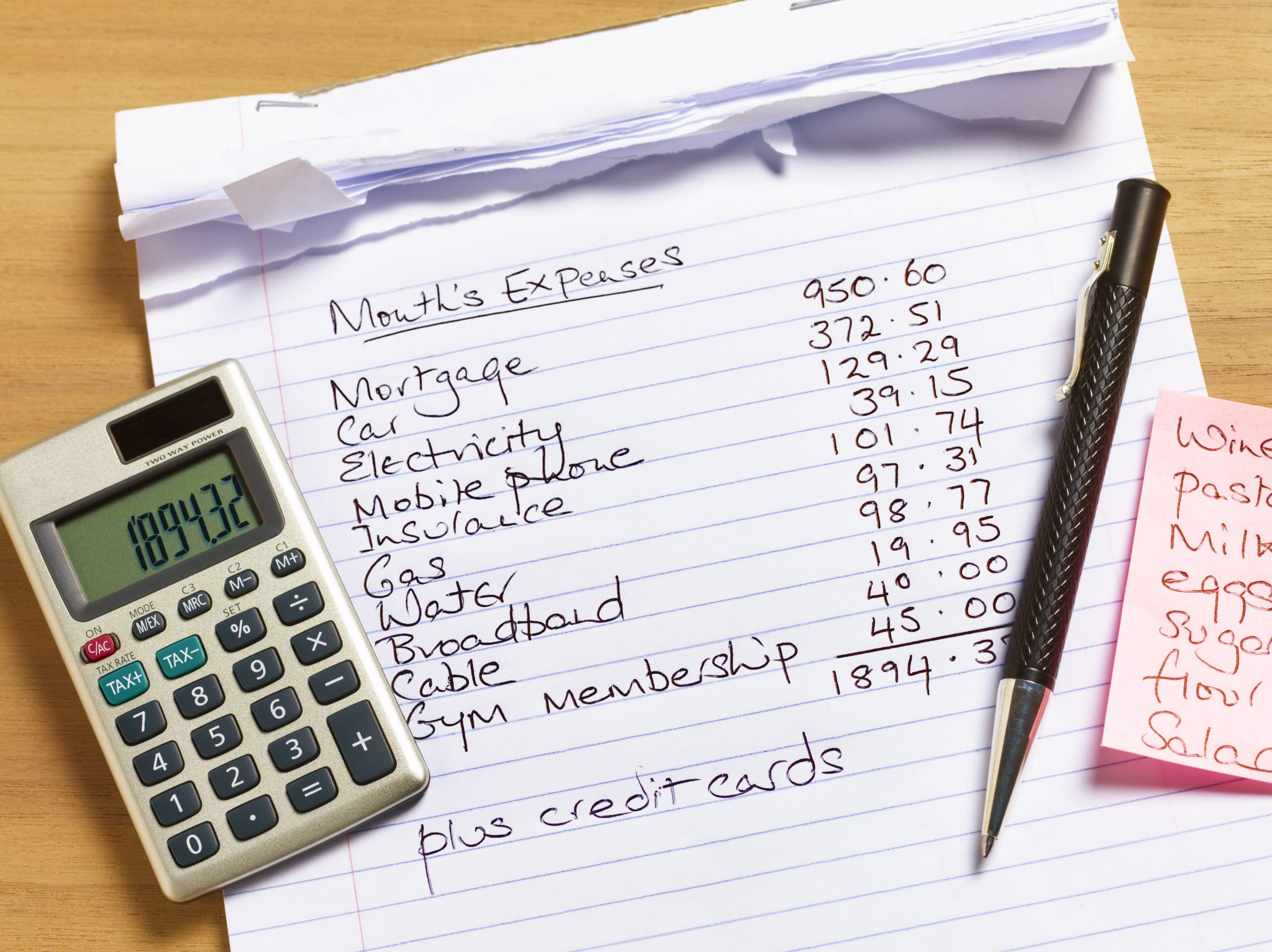 List of monthly expenses
