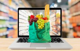 bag of groceries on a laptop