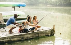 Family fishing in lake
