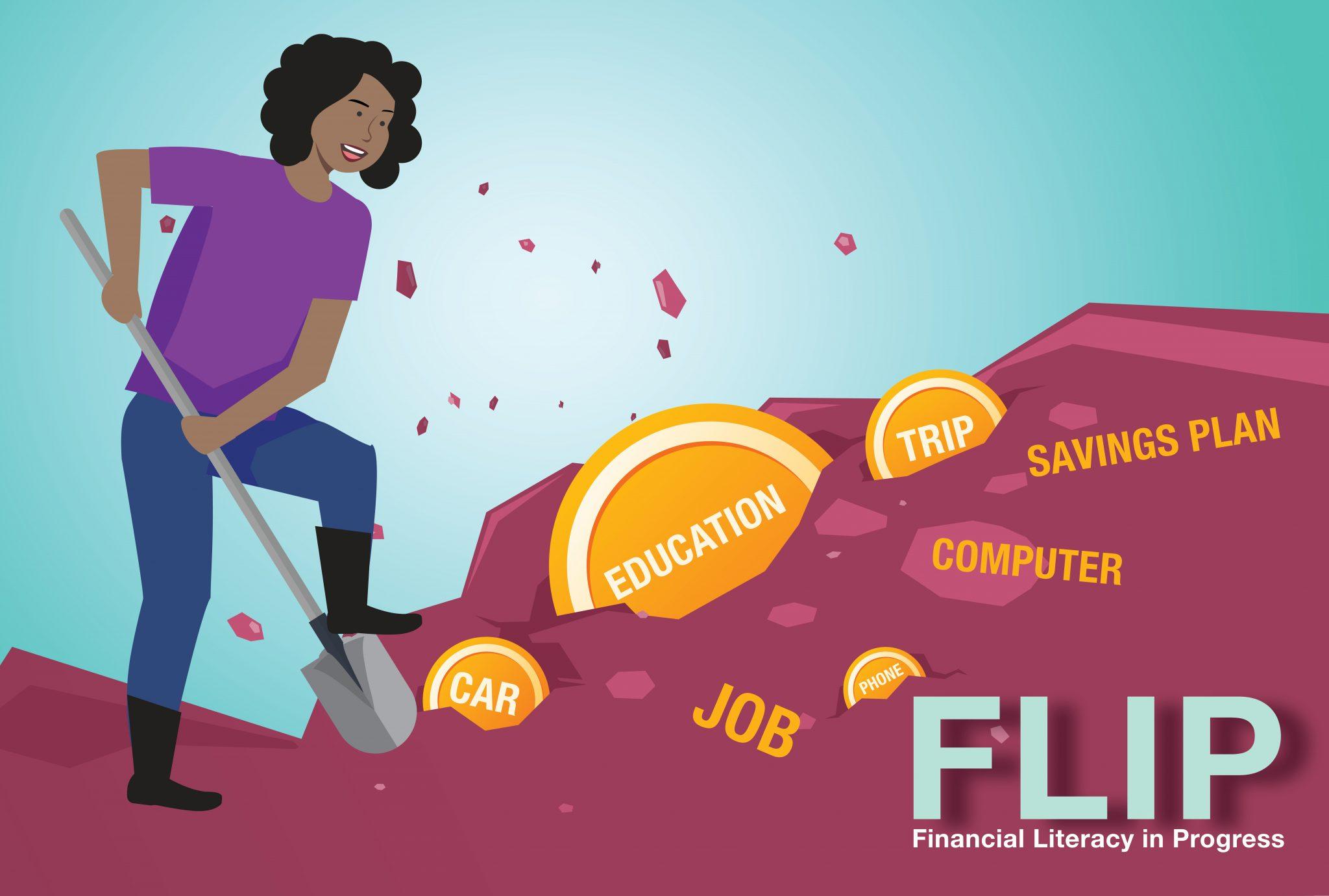 Illustration of a young woman digging for gold goals: education, phone, car, job, savings plan, computer, trip