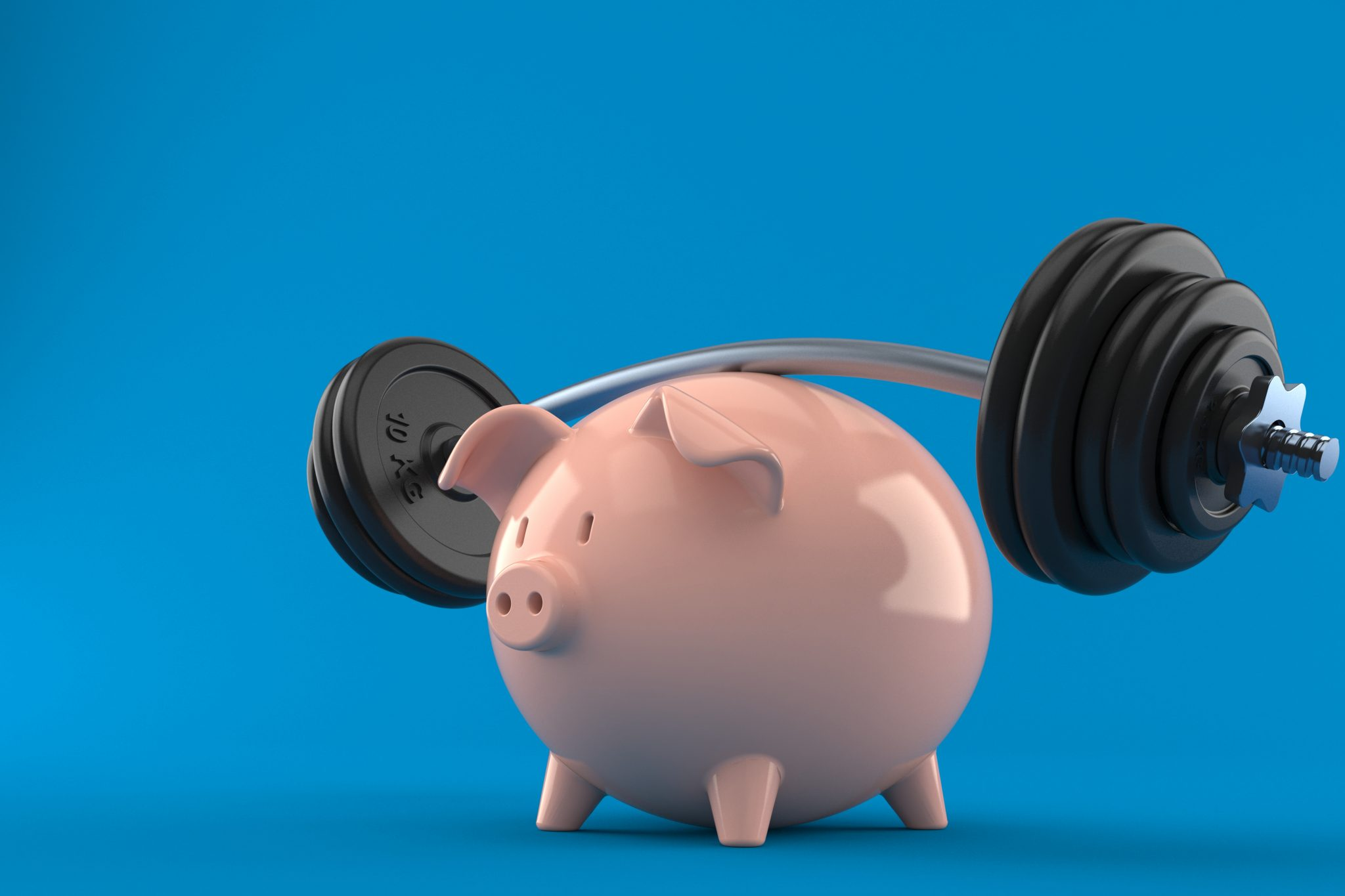 Piggy bank with barbell