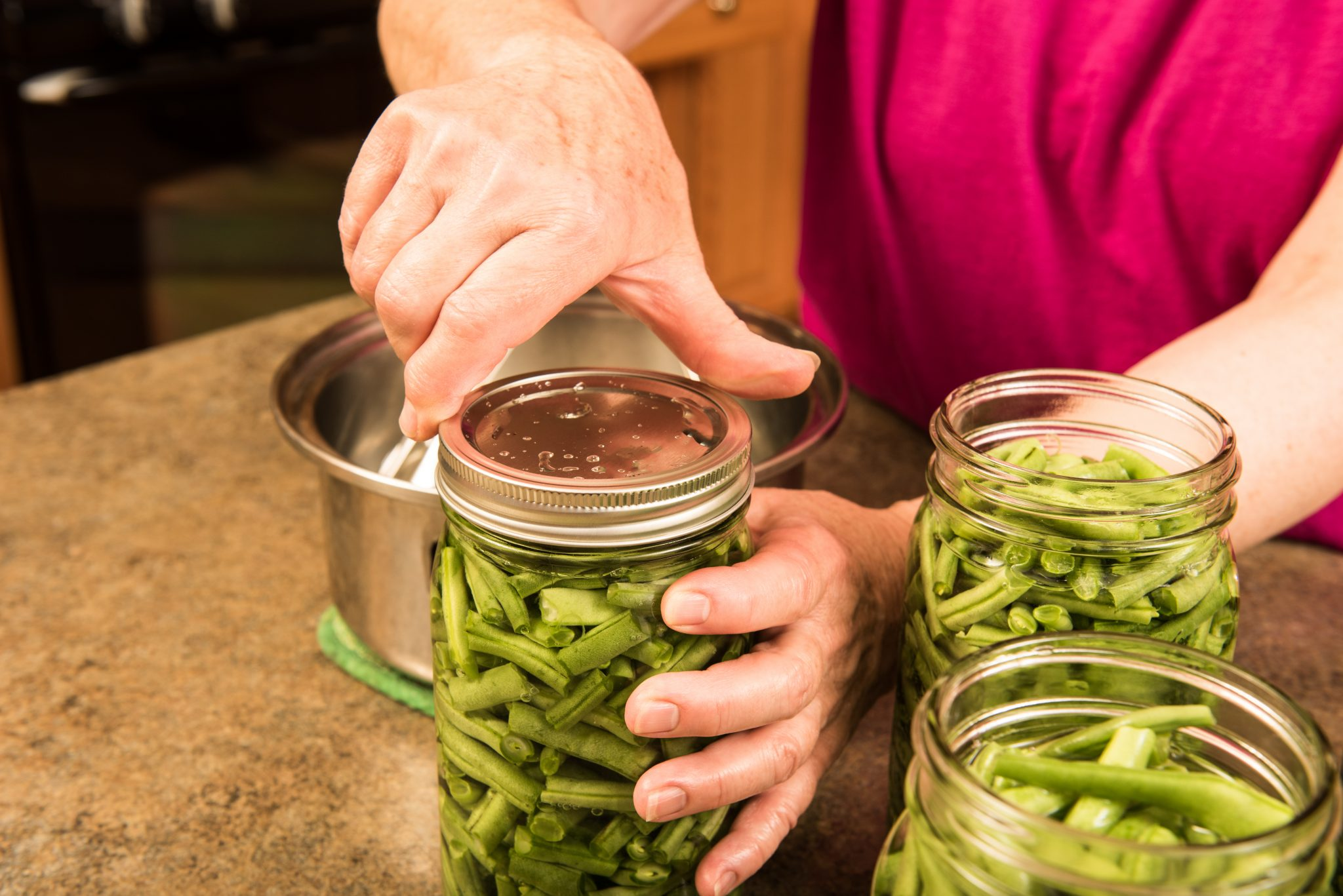pressure canner of green beans