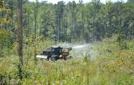 Chemical site-prep application by skidder.