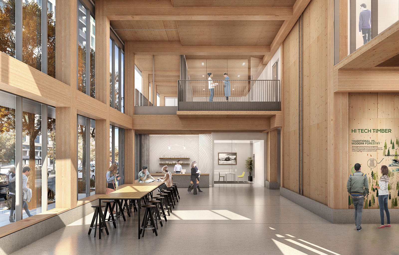 Rendered CLT Wood High-Rise Structure,