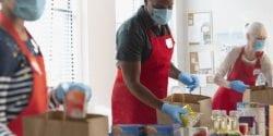 food access survey; Group of volunteer people donating groceries