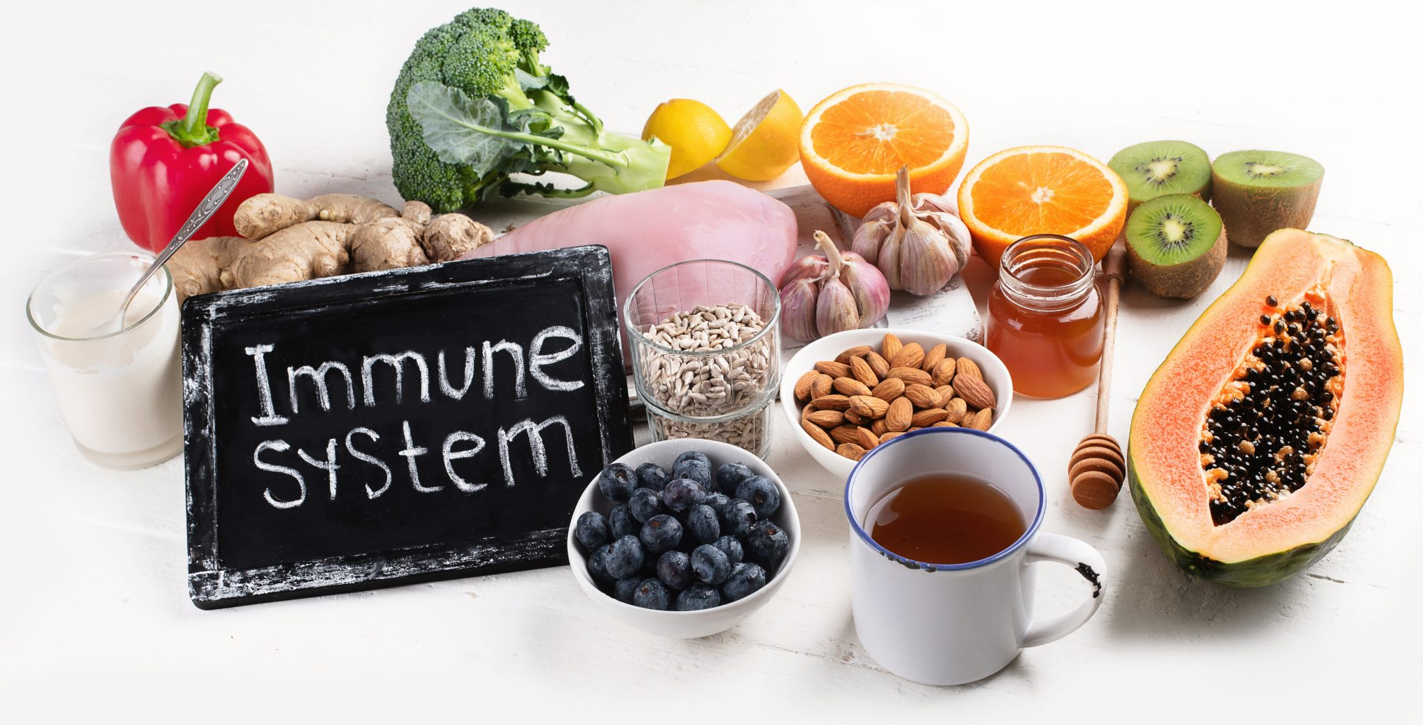 Fruits and vegetables surrounded by a sign that says Immune System.