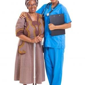African American nurse and senior patient