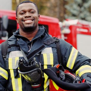 African American fire fighter