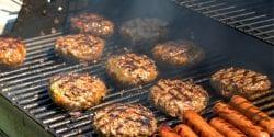 Grilling hamburgers and hotdogs