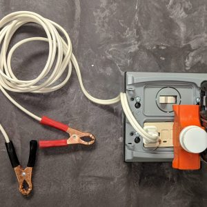 Figure 13. Extension cord with electrode clips plugged into the second outlet on the electrical euthanasia box