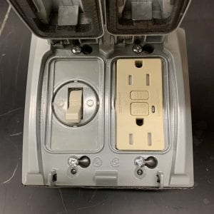 Figure 1. Toggle switch (left) and ground fault outlet (right)