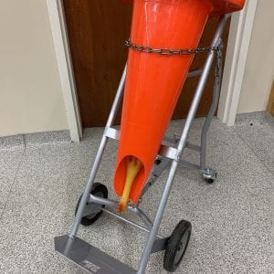 Figure 14. Traffic cone secured to a gas cylinder car