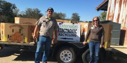 Allyson Shabel and Jim Richason at an E-waste drive.