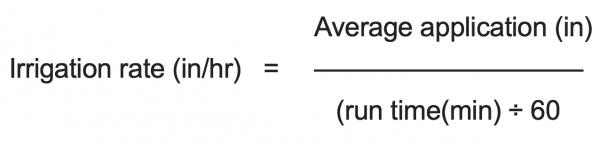Irrigation rate equation
