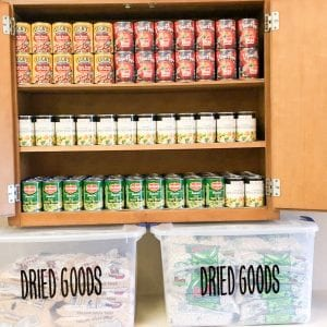 Full cupboard of canned goods