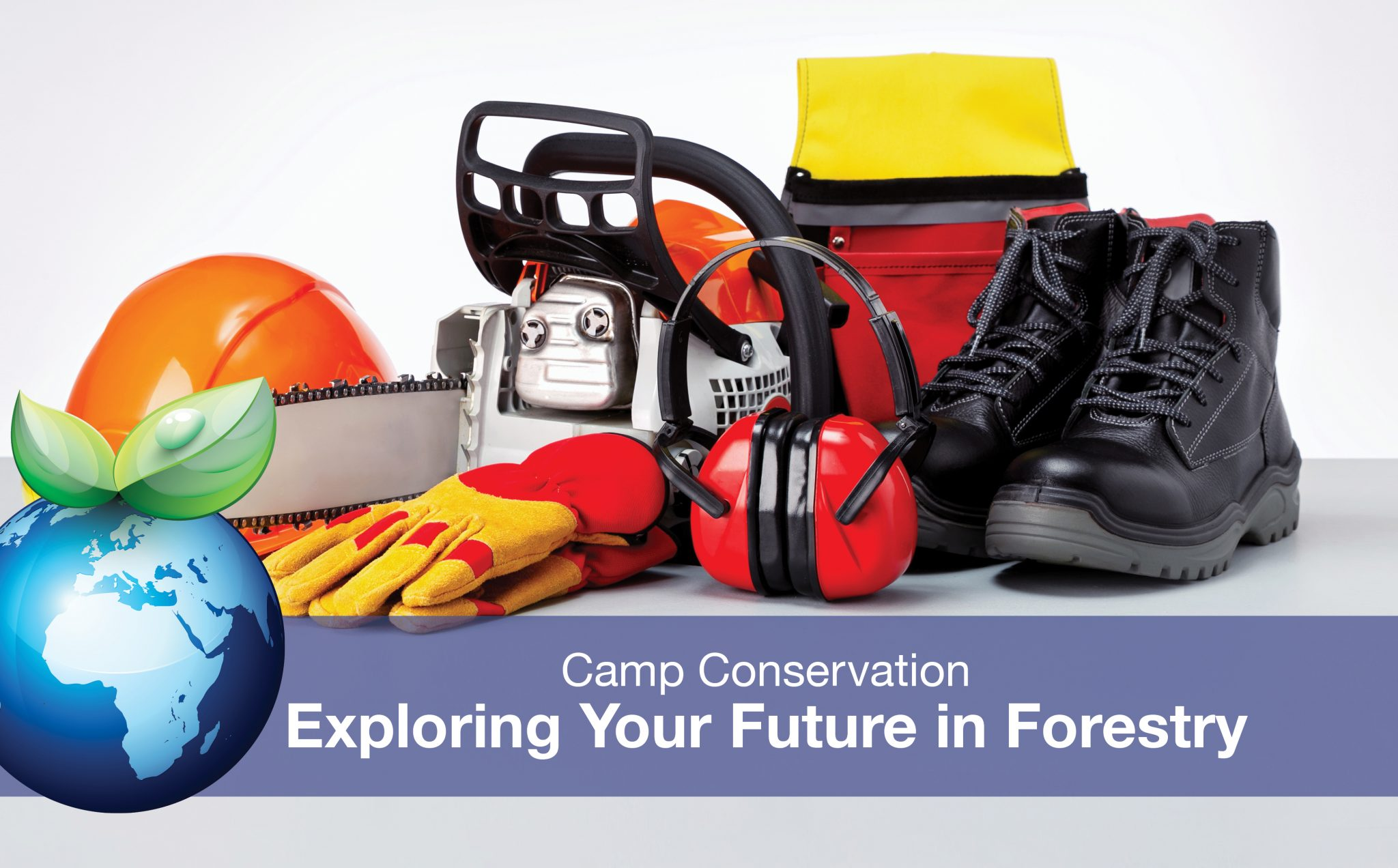 Forestry gear: hard hat, gloves, chainsaw, safety goggles.