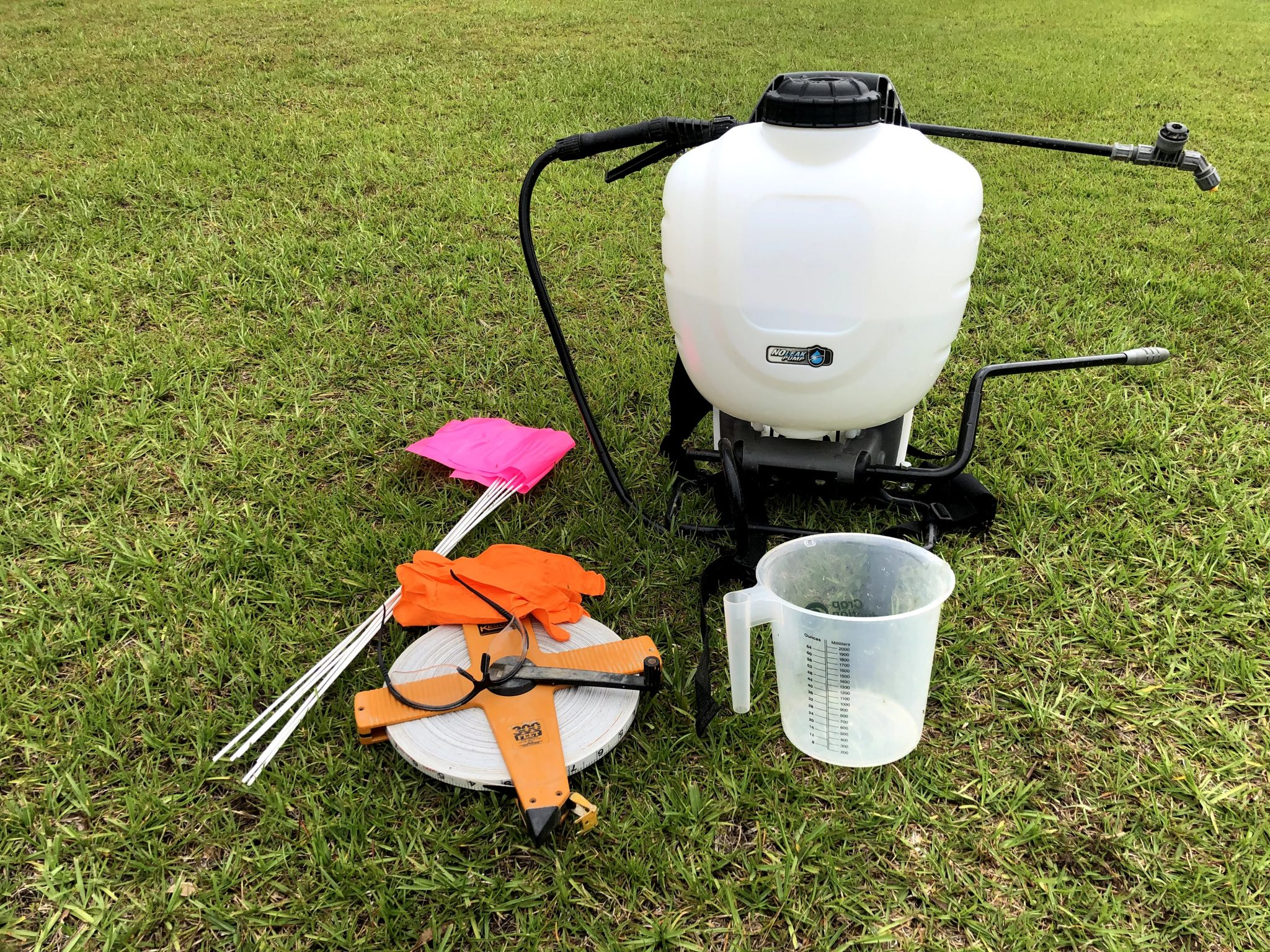 Figure 1. Tools needed to properly calibrate a backpack sprayer