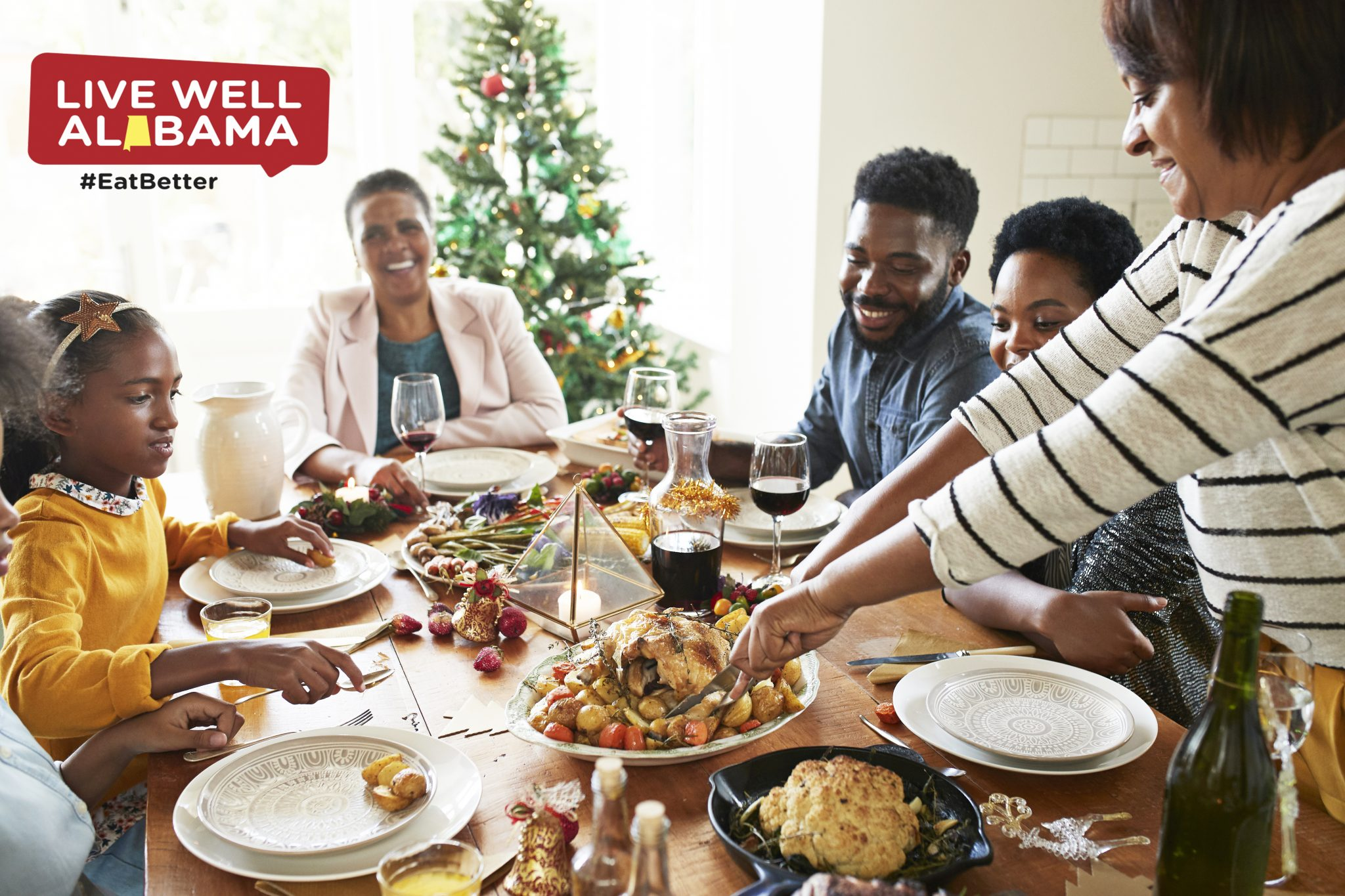 Family eating holiday dinner
