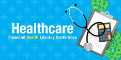 Illustration of medical clipboard with stethoscope, calculator and dollar bills. Healthcare financial health literacy conference.