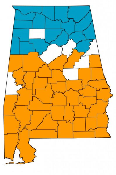 Figure 1. North and south Alabama 2020 cotton insect losses. Blue = north Alabama. Orange = south Alabama. White = No reported cotton acres.