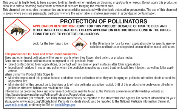 """Bee box: Pesticide labels contain a section specifically listing potential hazards to pollinators. This is referred to as the """"bee box."""""""