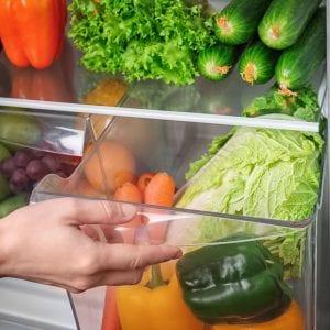 Vegetables in a crisper