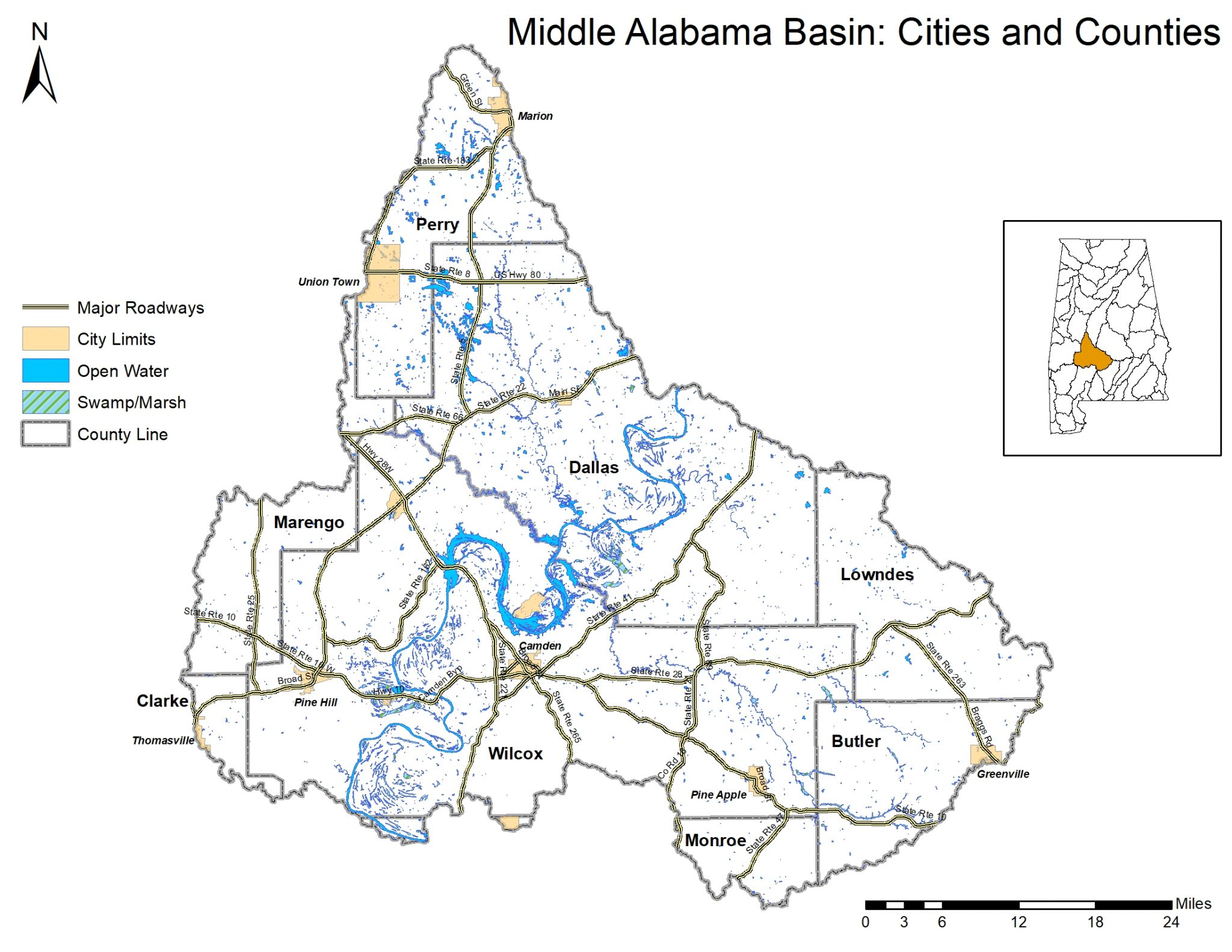 Map of the Middle Alabama Watershed