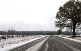 Snow and ice on a country road