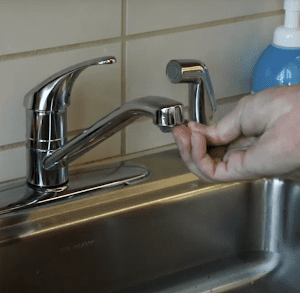 Sanitize the water tap with rubbing alcohol.