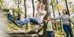 Pushing Mum on the Rope Swing