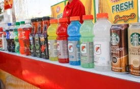 sugary beverages lined up in a line.