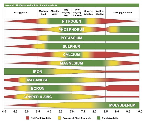 Figure 3. How soil pH affects availability of eleven nutrients needed for plant health