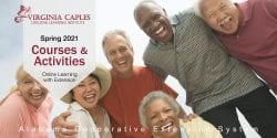 A diverse group of senior adults smiling at the camera. Title text and logo.