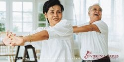 To older Asian adults dance for exercise.