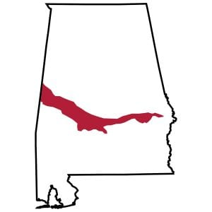 Figure 2. The Black Belt is the only region in Alabama with extensive areas of alkaline soils (soil pH > 7.0).