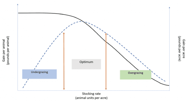 Figure 2. Stocking rate affects gain per animal (__) and gain per acre (- -) in forage systems. Adapted from Mott (1960).