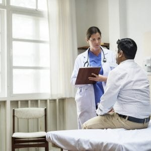 A doctor checking a patient