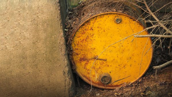 A rusted chemical container