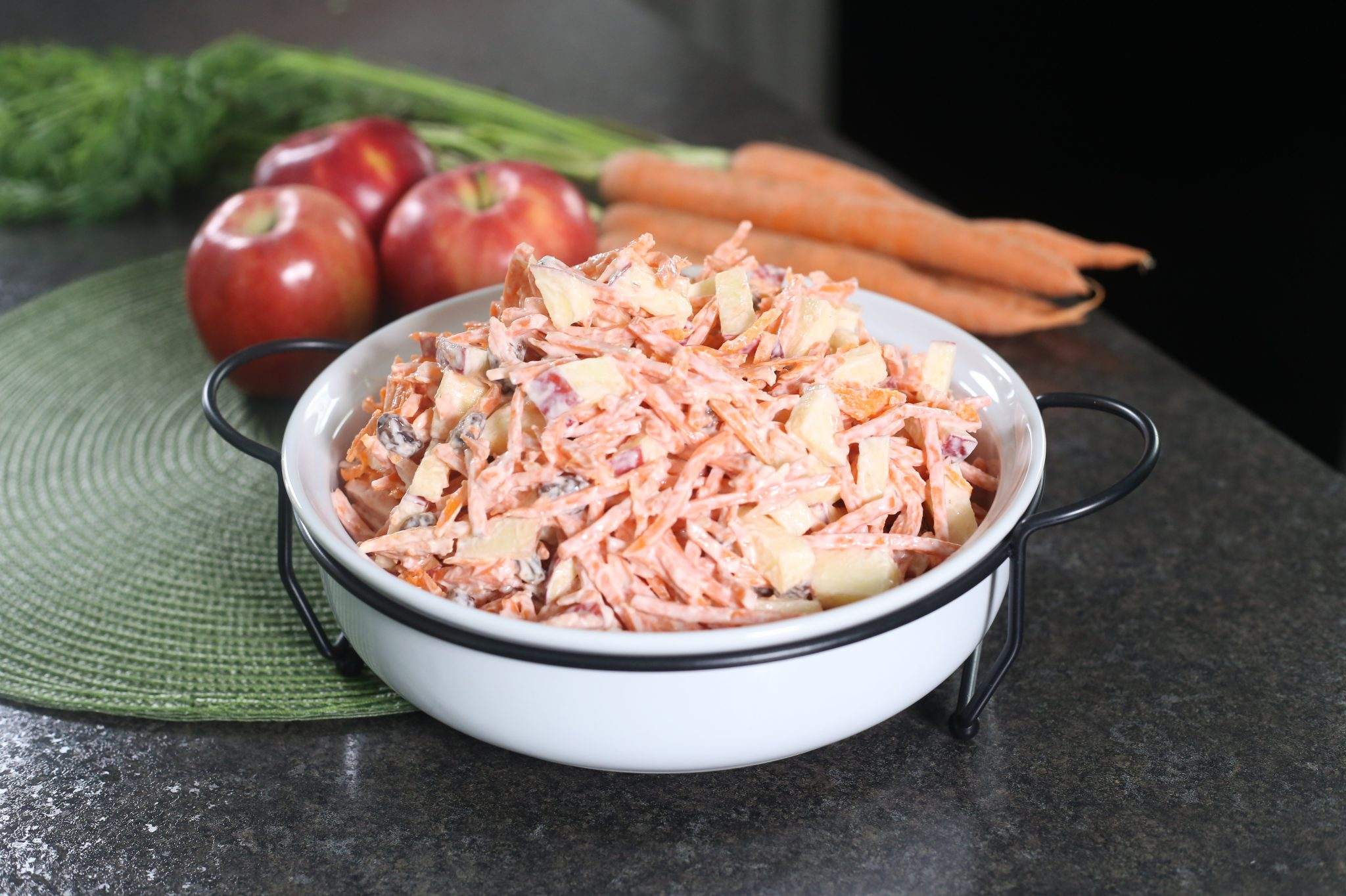 carrot salad in white cup