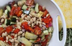 Greek salad, food in white bowl