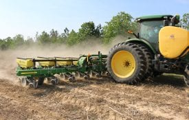 tractor planting cotton