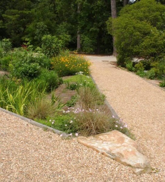 Figure 1. Donald E. Davis Arboretum rain garden between two paths