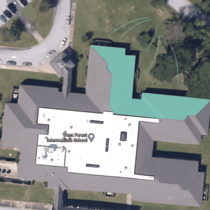 Figure 21. Image highlighting the portion of the rooftop that will drain to the rain garden site. The estimated square footage of this portion of the roof is 7,881 square feet.