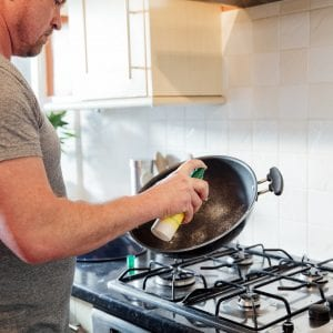 Preparing the Pan with Frying Oil